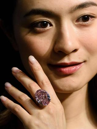 The plum-sized pink diamond is expected to break the world record. Picture: Anthony Wallace