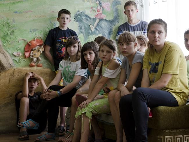 Frontline force ... Children from Donetsk orphanage speak to journalists in the city of Donetsk, eastern Ukraine, about their fears of being forcefully taken into Russia.