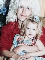 """Peaches Gelodof posted this picture on Instagram a week before she passed away of herself as a child. She is being held by mum, Paula Yates. Caption: """"Two massive sheep"""". Picture: Instagram/ Peaches Geldof"""