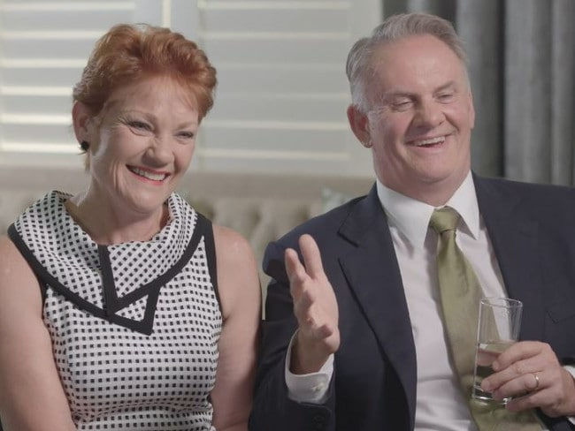 Pauline Hanson and Mark Latham appeared to have a grand old time on 60 Minutes. Picture: Channel 9