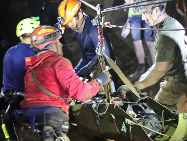The Royal Thai Navy has shared remarkable footage of the Thai boys being transported through the cave on stretchers during the rescue operation. Picture: AFP Photo / Royal Thai Navy