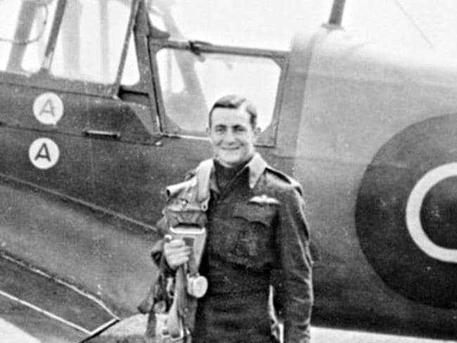 A portrait of Arthur Pardey, about to board a Miles Master advanced trainer at an airfield in Condover, Shropshire, UK. Source: Australian War Memorial.