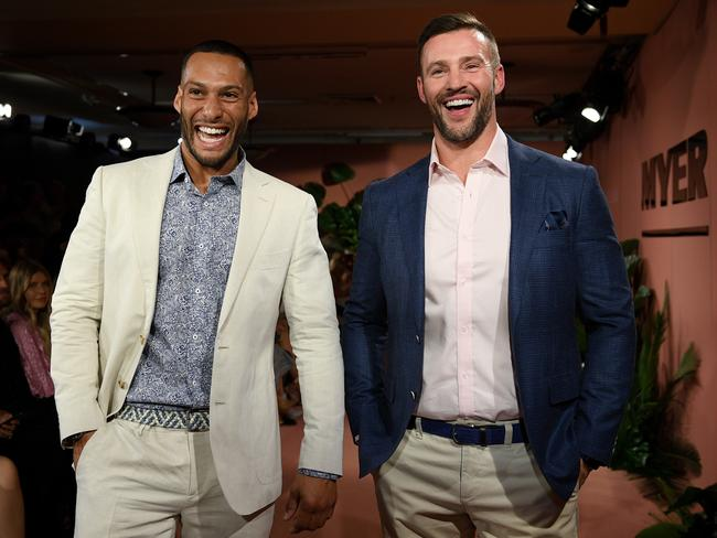 Josh Gibson and Kris Smith walk the runway. Picture: Dan Himbrechts/AAP