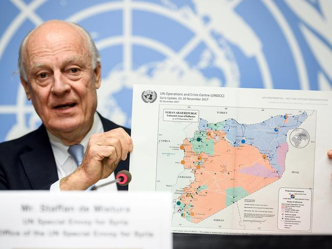 "UN Special Envoy for Syria Staffan de Mistura has warned that Idlib could become ""the biggest humanitarian tragedy"". Picture: AFP Photo/Fabrice Coffrini"