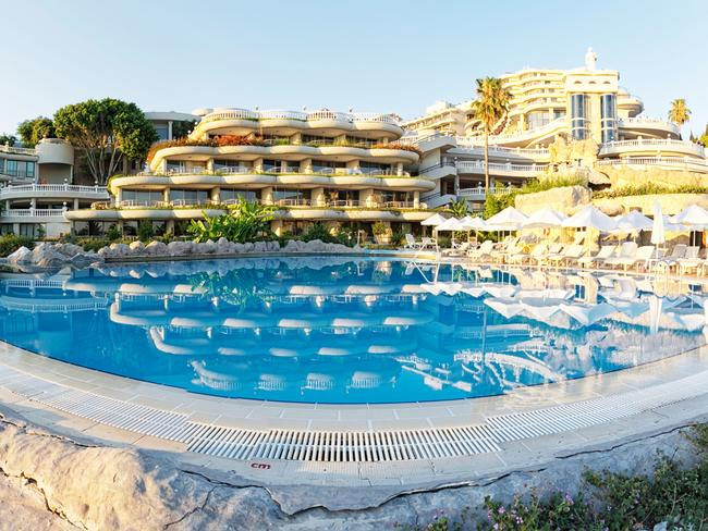 The pool at the Crystal Sunrise Queen Luxury Resort and Spa hotel in Side, Turkey. Picture: Laszlo Szirtesi/Alamy
