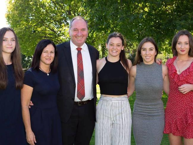 Natalie and Barnaby Joyce with daughters Odette, Caroline, Julia and Bridgette Picture: Facebook