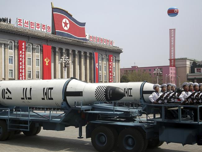 A submarine-launched ballistic missile is displayed in Kim Il Sung Square during a military parade on Saturday in Pyongyang. Picture: Wong Maye-E/AP