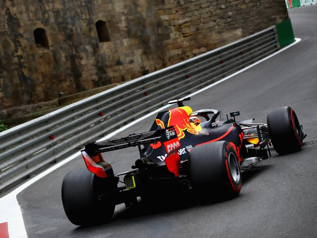 Daniel Ricciardo in action during practice in Baku.
