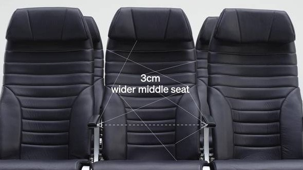 Air New Zealand's A321neo fleet compensates the middle seat with 3cm of added width. Picture: Supplied