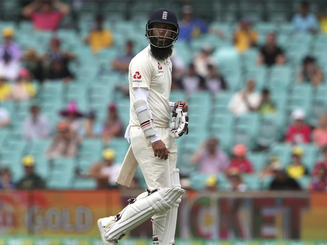 England's Moeen Ali walks off for the final time in a sorry series.