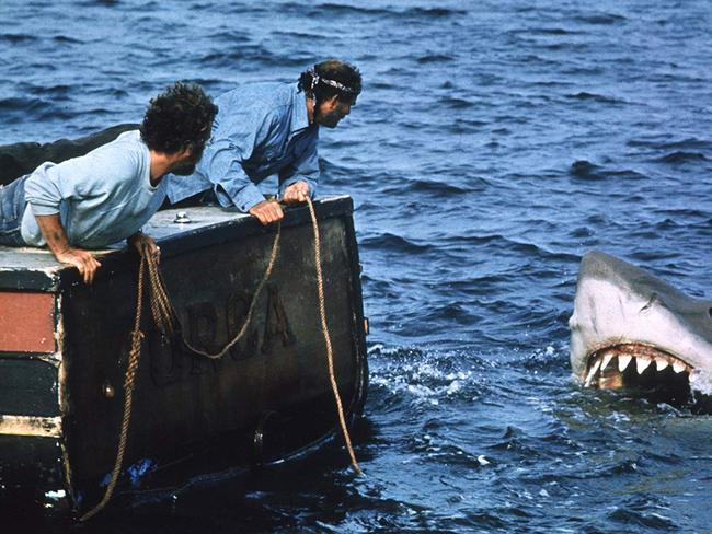 A still from the 1975 movie, Jaws. Actors Richard Dreyfuss, Robert Shaw. Picture: Bud Gray - © MPTV