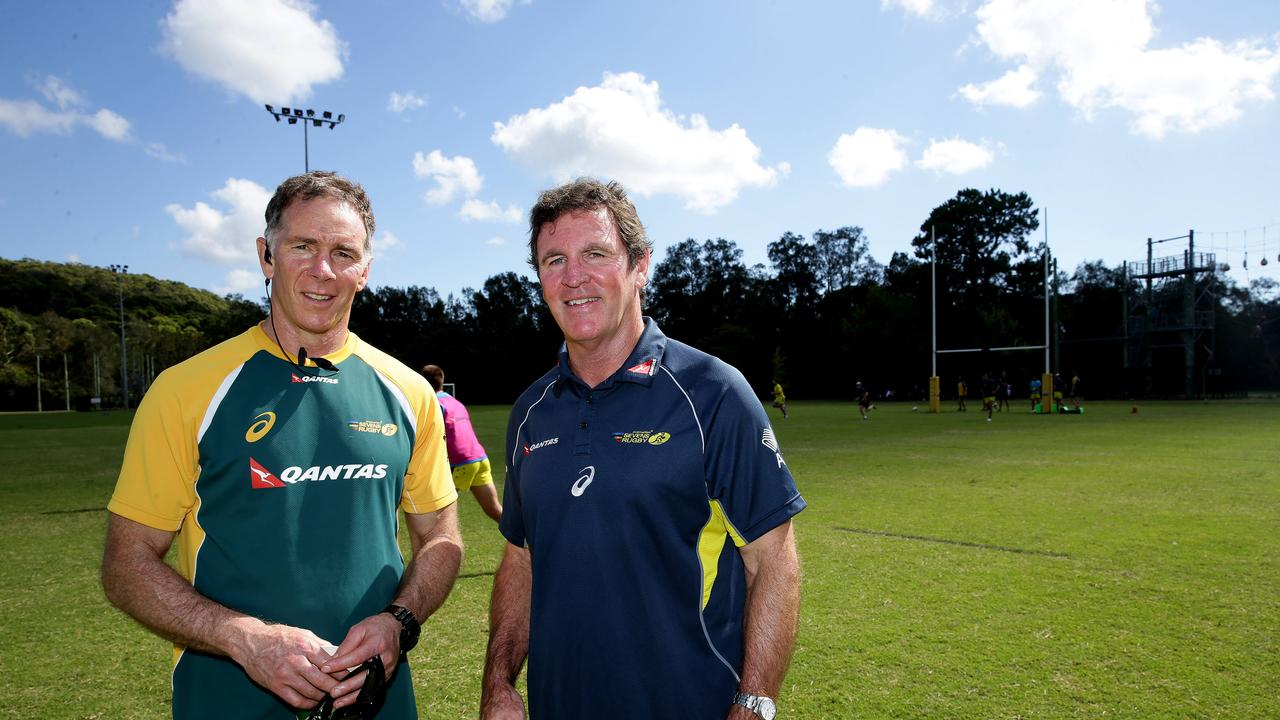 Former Australian sevens coach Andy Friend and Michael O'Connor at Narrabeen Sports Academy.