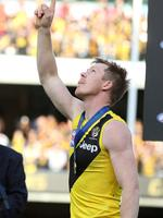 2017 AFL Grand Final. 30/09/2017. Adelaide vs Richmond at the MCG. Jack Riewoldt points to the heavens in honour of cousin Maddie Riewoldt . Pic: Michael Klein