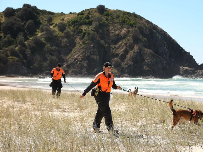 Search Dogs Sydney with specialist cadaver dogs at Tallow Beach, Mr Hayez's last-known location. Picture: Lyndon Mechielsen