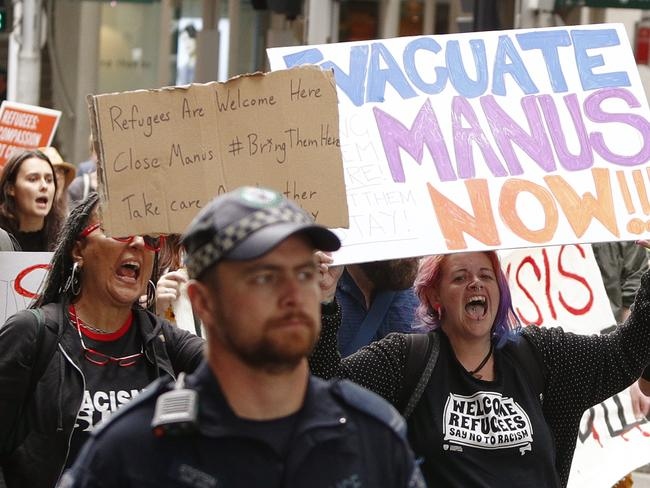 Hundreds of people marched in support of Manus Island refugees in Sydney. Picture: AAP