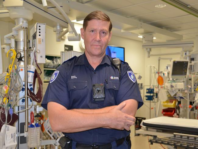 Townsville Hospital security guards are now equipped with body-worn cameras in an effort to curb violence against health staff.