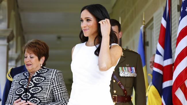 The Duchess of Sussex arrives at Admiralty House on Tuesday as they commence their 16-day tour of Australia and the South Pacific. Picture: Phil Noble/Pool via AP
