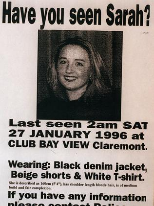 Poster of missing teenager Sarah Spiers who disappeared in January 1996.