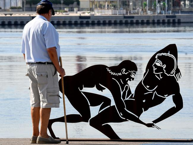 The sculptures have sparked debate because they feature in a public space frequented by children. Picture: AFP