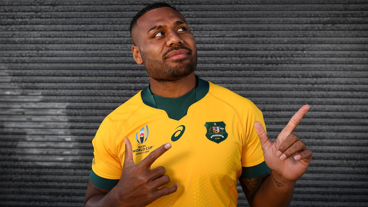 Samu Kerevi poses at the launch of the Wallabies 2019 Rugby World Cup jersey in Sydney.