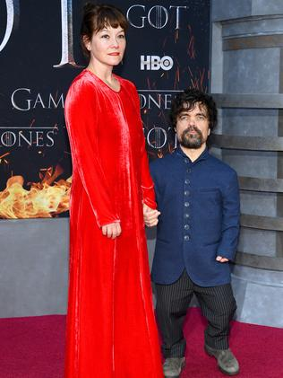 "Peter Dinklage and Erica Schmidt attend the ""Game Of Thrones"" Season 8 Premiere in New York City. (Photo by Dimitrios Kambouris/Getty Images)"