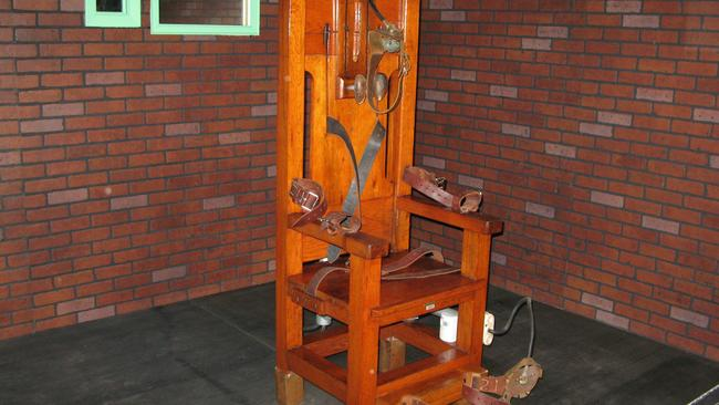 The electric chair is a big tourist magnet for the Texas Prison Museum in Huntsville. Picture: News Corp Australia