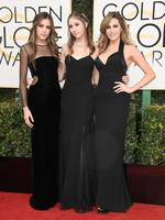 Miss Golden Globes Sistine Stallone, Miss Golden Globes Scarlet Stallone, and Miss Golden Globes Sophia Stallone attend the 74th Annual Golden Globe Awards at The Beverly Hilton Hotel on January 8, 2017 in Beverly Hills, California. Picture: Getty