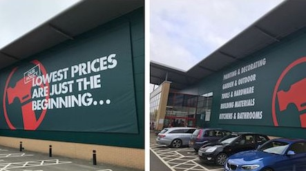 """Before and after: A UK Bunnings store which previously displayed the famous """"lowest prices.."""" tagline (left). Now the store simply lists the products that can be found inside. Picture: Steve Collinge/Insight DIY."""