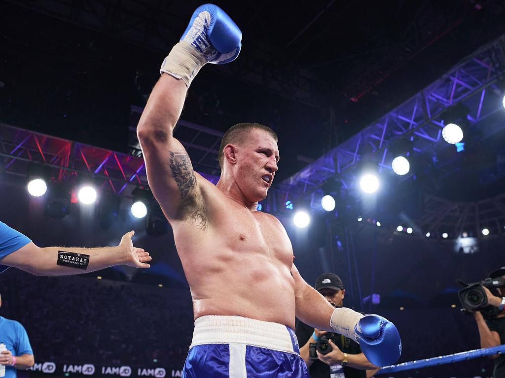 SYDNEY, AUSTRALIA - DECEMBER 16: Paul Gallen celebrates victory over Mark Hunt during the Main Event fight prior to the light-middleweight World Title elimination bout between Tim Tszyu and Bowyn Morgan at Bankwest Stadium on December 16, 2020 in Sydney, Australia. (Photo by Brett Hemmings/Getty Images)