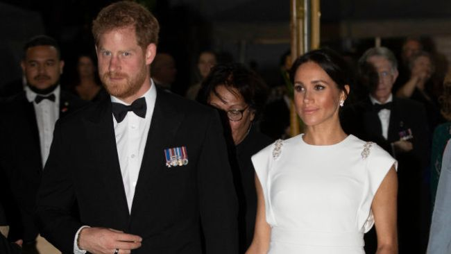 NUKU'ALOFA, TONGA - OCTOBER 25: Prince Harry, Duke of Sussex and Meghan, Duchess of Sussex attend a state dinner at the Royal Residence on October 25, 2018 in Nuku'alofa, Tonga. The Duke and Duchess of Sussex are on their official 16-day Autumn tour visiting cities in Australia, Fiji, Tonga and New Zealand. (Paul Edwards - Pool/Getty Images)