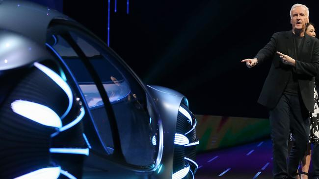 Director James Cameron gestures towards the Mercedes-Benz Vision AVTR concept car, an 'Avatar'-themed vehicle, at a keynote address at CES 2020. Picture: Mario Tama/Getty Images/AFP