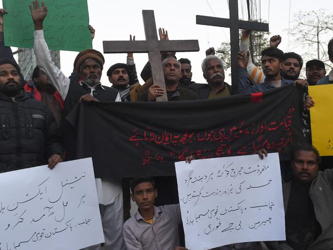 Pakistani Christians protest after a suicide bombers attacked a Methodist church. Picture: Arif Ali