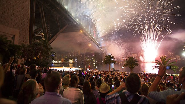 New Years Eve midnight fireworks at Dawes Point. Picture: Cameron. Mitch