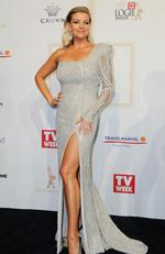 Rebecca Maddern arrives on the red carpet at the 59th annual TV Week Logie Awards on April 23, 2017 at the Crown Casino in Melbourne, Australia. Picture: AAP