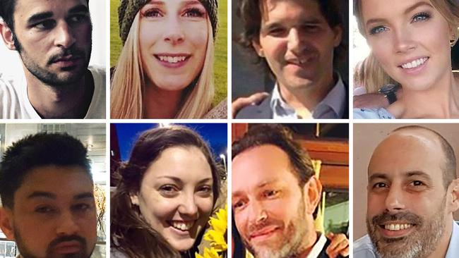 The heroic young woman was one of eight people killed in the attack. Top, from left, Alexandre Pigeard of France, Christine Archibald of Canada, Ignacio Echevarria of Spain, Sara Zelenak of Australia. Bottom, from left James McMullen of Britain, Ms Boden, Xavier Thomas of France, and Sebastien Belanger of France. Picture: AFP Photo / Supplied