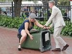 MELBOURNE, AUSTRALIA - NOVEMBER 01: A racegoers walks into a rubbish bin following 2016 Melbourne Cup Day at Flemington Racecourse on November 1, 2016 in Melbourne, Australia. (Photo by Scott Barbour/Getty Images)
