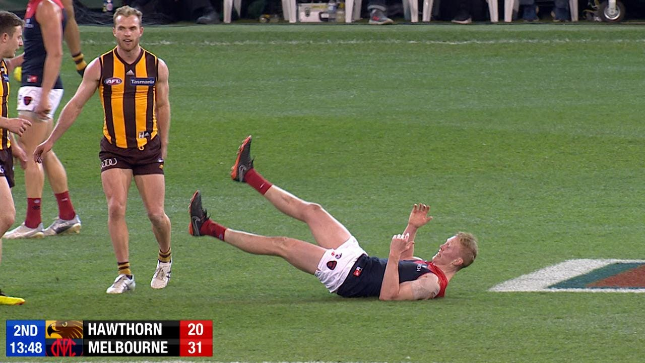 Melbourne's Clayton Oliver has come under fire for this incident against Hawthorn.