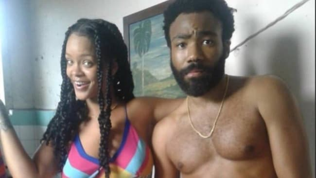 Rihanna and Glover on set in Cuba. Image: Twitter.com/factsnevernyny