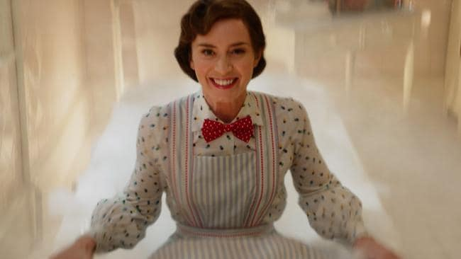 Emily Blunt as Mary Poppins, just before she falls backwards into a bathtub — and disappears completely.