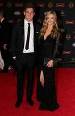 Shaun Atley of North Melbourne and guest arrive at the 2016 Brownlow Medal Count.