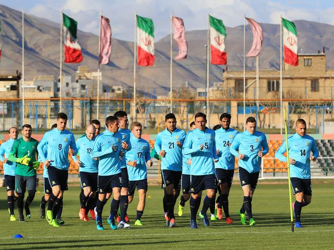 Players warm up ahead of the Socceroos World Cup qualifier against Iraq in Tehran, Iran. pic Mark Evans.