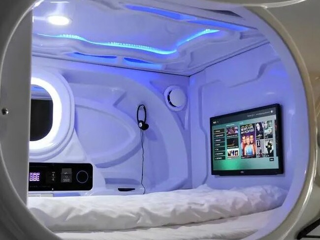 There are also TVs in the pods. Picture: Hostelworld
