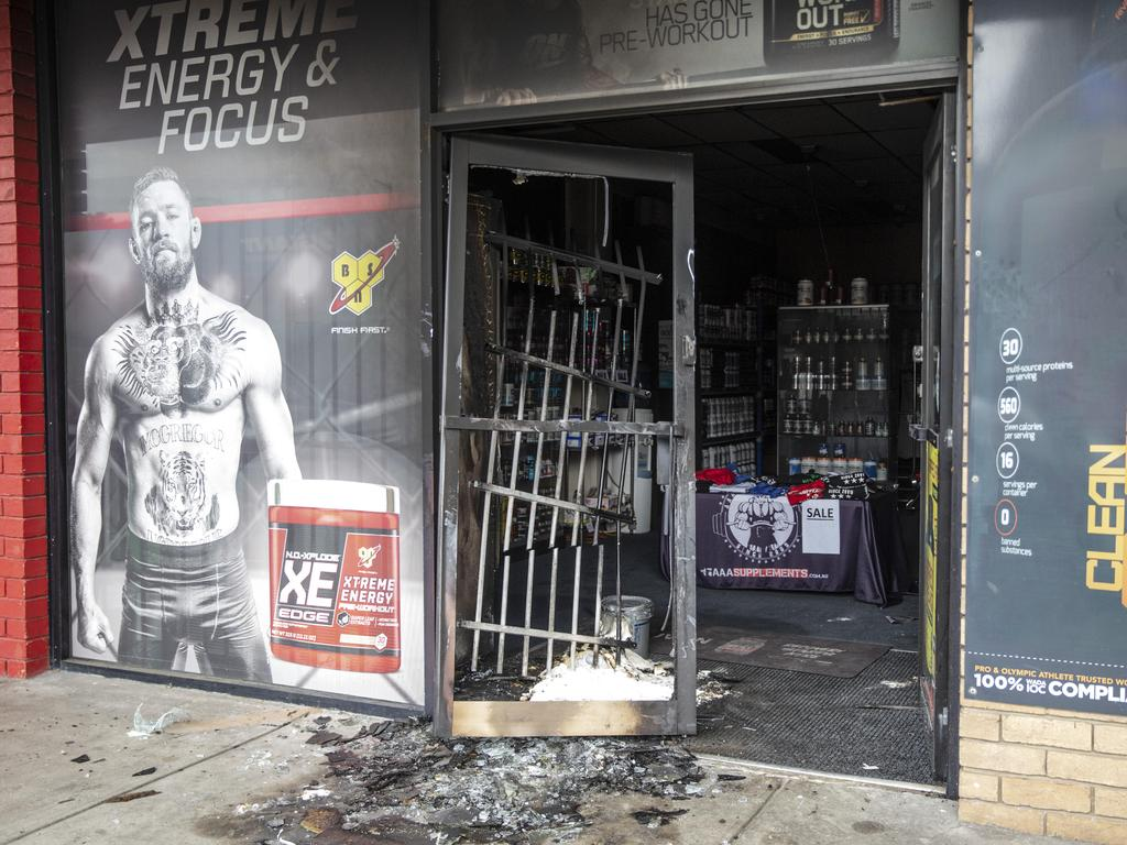 AAA Supplements in Frankston after it was fire bombed. Picture: Sarah Matray