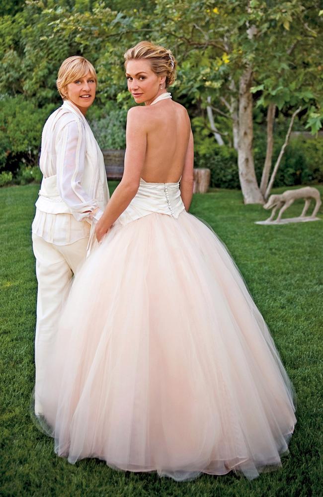 Flashback: Ellen DeGeneres and Portia de Rossi's wedding. Picture: Lara Porzak Photography