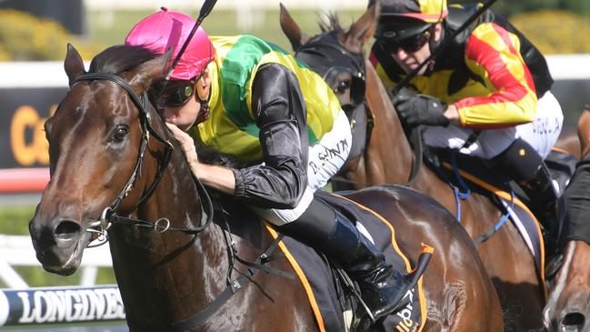 Jockey Blake Shinn produced a great ride on The Chosen One in the Frank Packer Plate. Picture: AAP