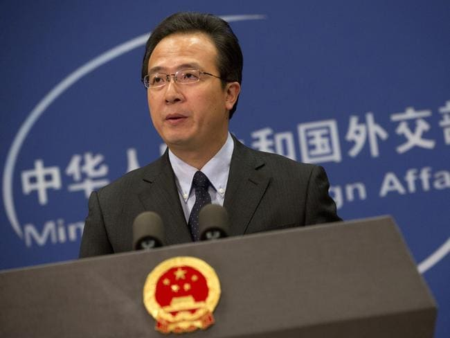 Chinese foreign ministry spokesman Hong Lei speaks during a daily briefing at the Ministry of Foreign Affairs office in Beijing, where the executions of Chinese and Norwegian hostages were condemned.