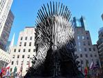 """A giant Iron Throne is on display ahead of the """"Game of Thrones"""" eighth and final season at Radio City Music Hall on April 3, 2019 in New York city. (Photo by Angela Weiss / AFP)"""