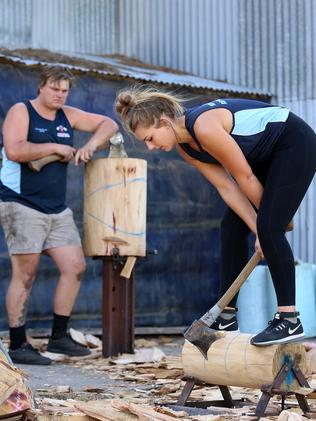Kate Reumer only recently started competing in woodchopping events. Picture: Sam Ruttyn