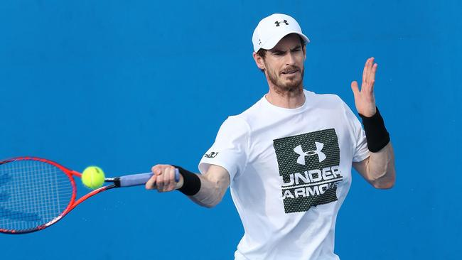 Andy Murray practises in Brisbane on Monday.