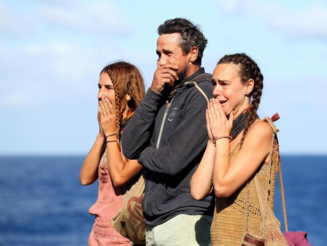 All three contestants were terrified of the final immunity challenge. Picture: Nigel Wright